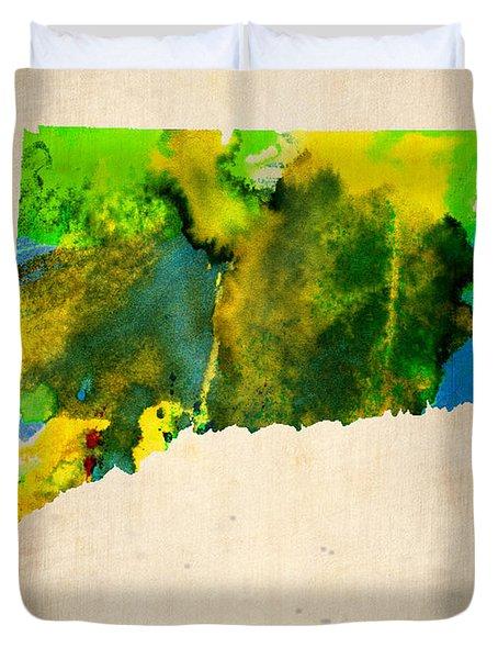 Connecticut Watercolor Map Duvet Cover by Naxart Studio