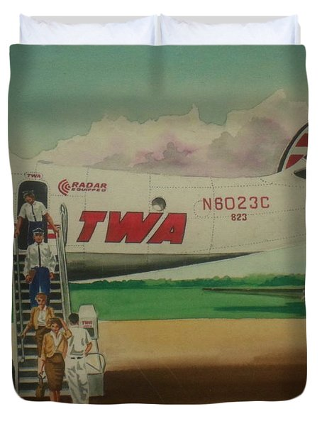 Connie Crew Deplaning At Columbus Duvet Cover