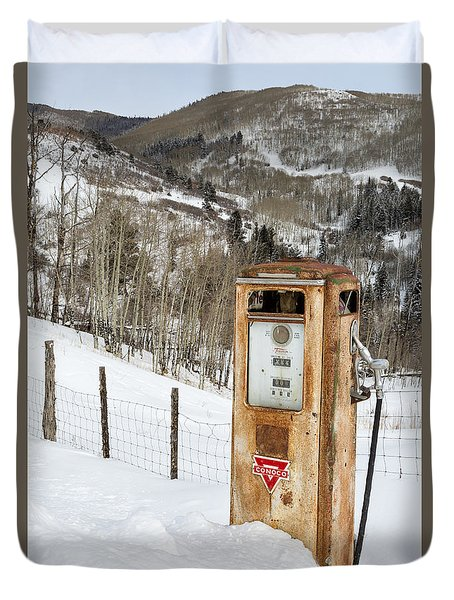 Conoco In The Snow Duvet Cover