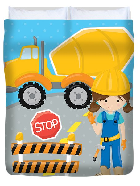 Construction Zone - Concrete Truck Roadwork In Progress Gifts #16 Duvet Cover