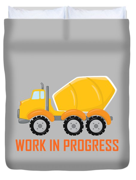 Construction Zone - Concrete Truck Work In Progress Gifts - Grey Background Duvet Cover