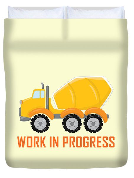 Construction Zone - Concrete Truck Work In Progress Gifts - Yellow Background Duvet Cover