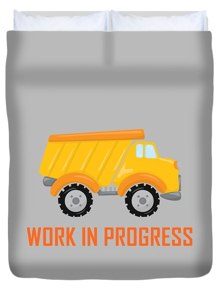 Construction Zone - Dump Truck Work In Progress Gifts - Grey Background Duvet Cover