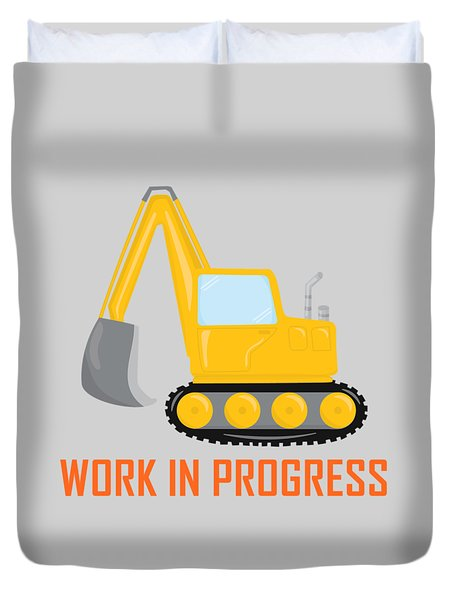 Construction Zone - Excavator Work In Progress Gifts - Grey Background Duvet Cover