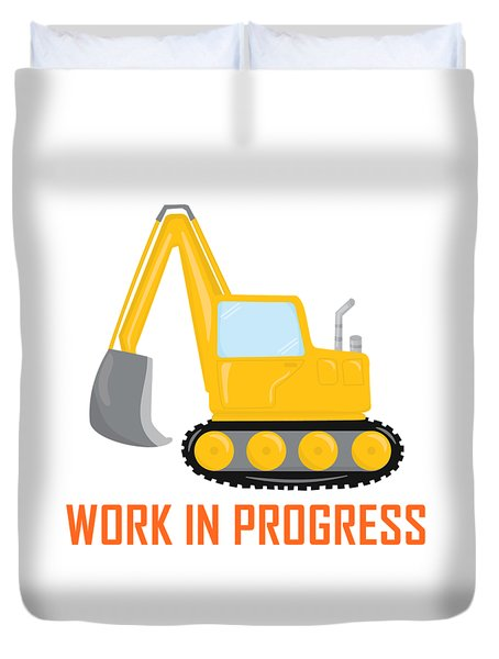 Construction Zone - Excavator Work In Progress Gifts - White Background Duvet Cover