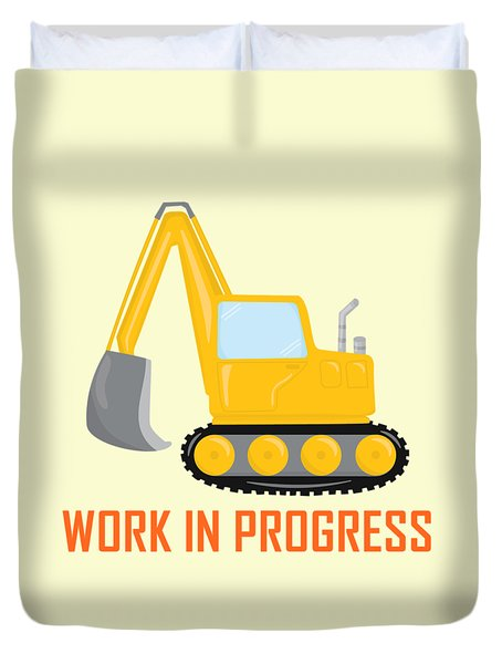 Construction Zone - Excavator Work In Progress Gifts - Yellow Background Duvet Cover
