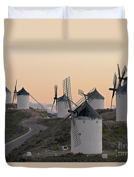 Duvet Cover featuring the photograph Consuegra Windmills by Heiko Koehrer-Wagner