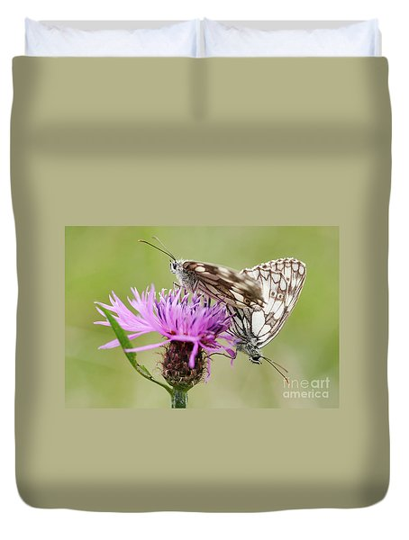 Contact - Butterflies On The Bloom Duvet Cover by Michal Boubin