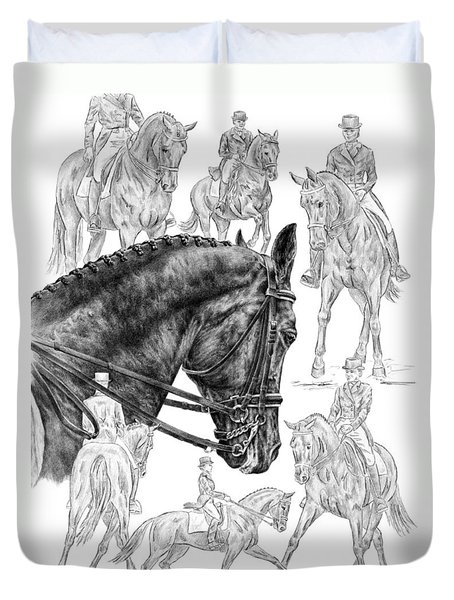Contemplating Collection - Dressage Horse Drawing Duvet Cover