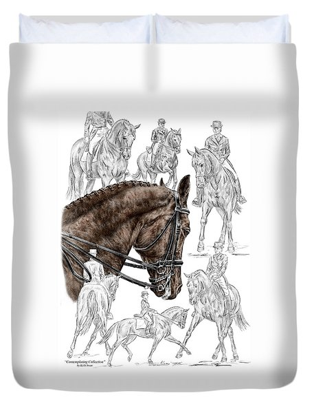 Contemplating Collection - Dressage Horse Print Color Tinted Duvet Cover by Kelli Swan