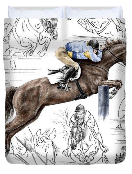 Contemplating Flight - Horse Jumper Print Color Tinted Duvet Cover