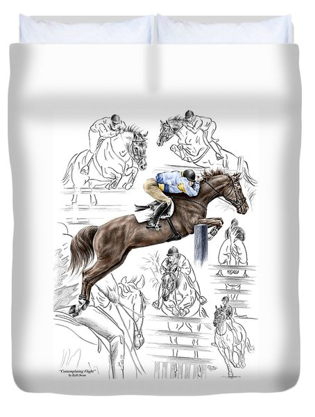 Contemplating Flight - Horse Jumper Print Color Tinted Duvet Cover by Kelli Swan