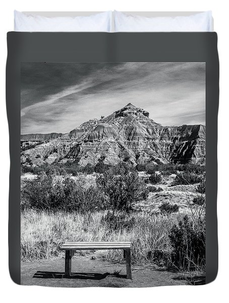 Contemplation Bench Bw Duvet Cover