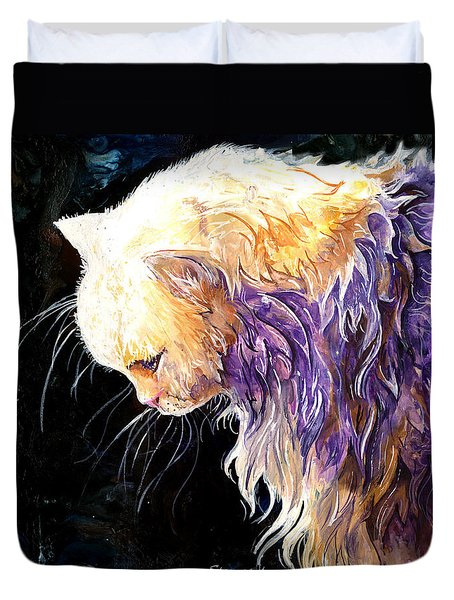 Duvet Cover featuring the painting Contemplation by Sherry Shipley