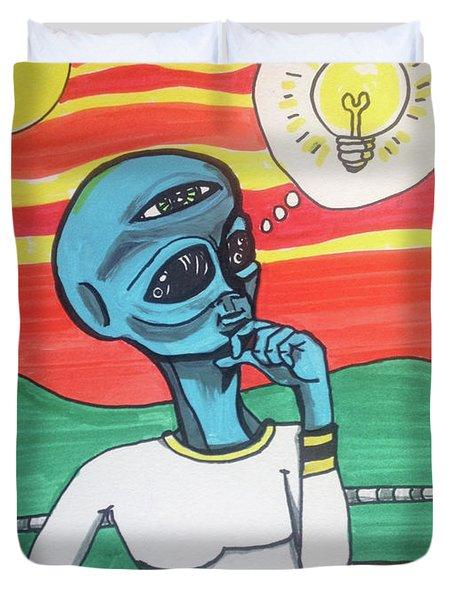 Contemplative Alien Duvet Cover