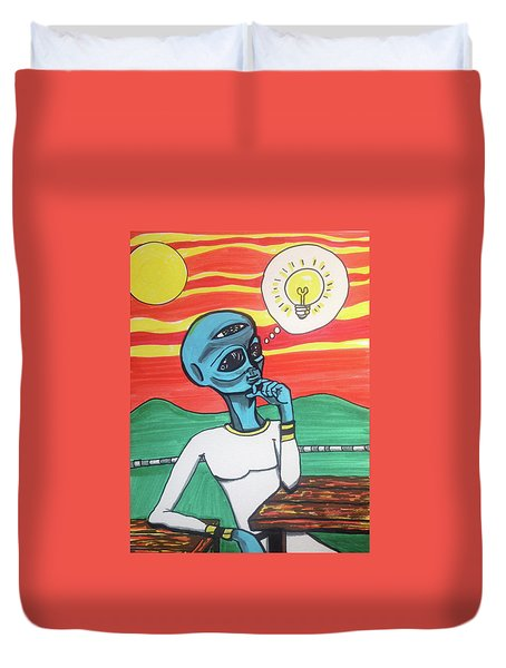 Contemplative Alien Duvet Cover
