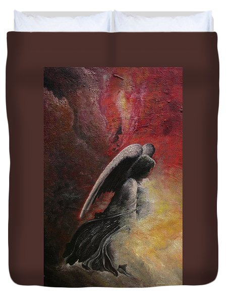 Contemplative Angel Duvet Cover
