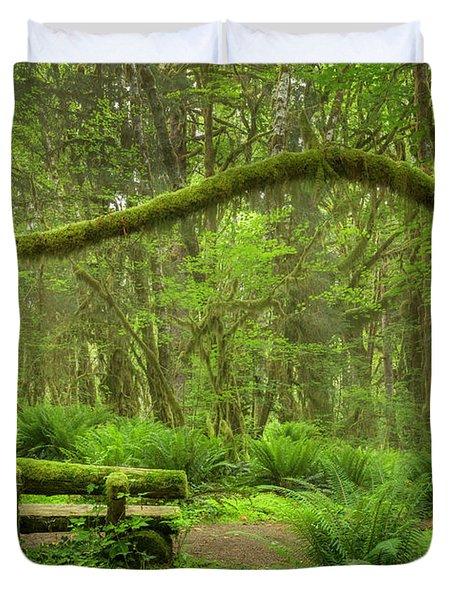 Contemplative Rain Forest Duvet Cover