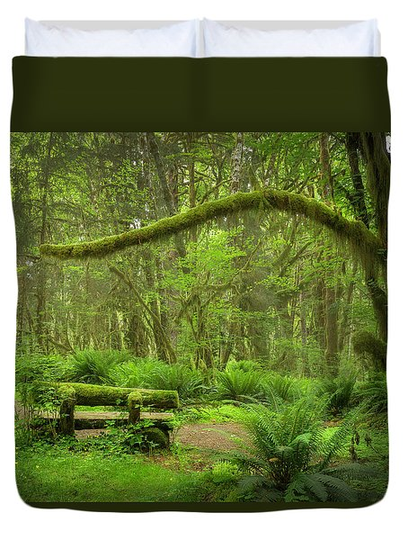 Contemplative Rain Forest Duvet Cover