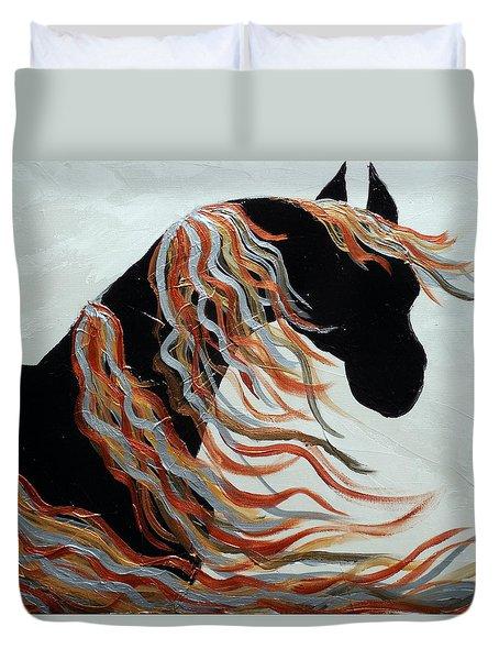 Contemporary Abstract Metallic Horse  Duvet Cover