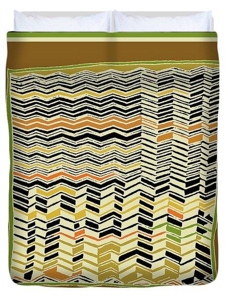 Duvet Cover featuring the digital art Contemporary Kuba Cloth by Vagabond Folk Art - Virginia Vivier