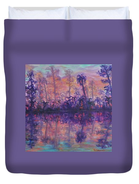 Contemporary Nature Painting Tropical Lake Sunset Duvet Cover