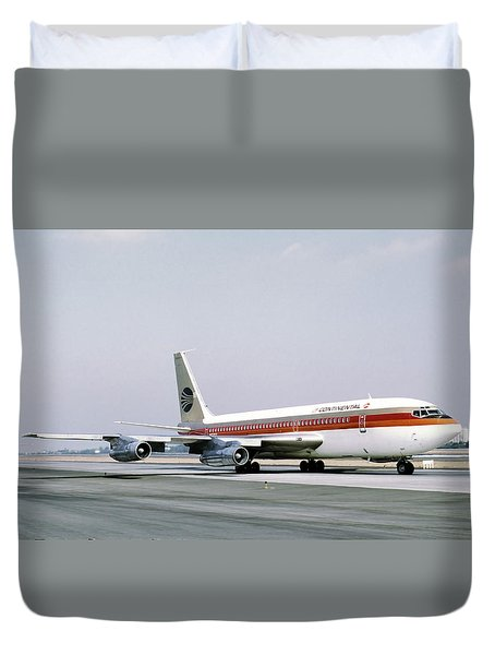 Continental Airlines 720-024b N17207 Los Angeles July 22 1972 Duvet Cover by Brian Lockett