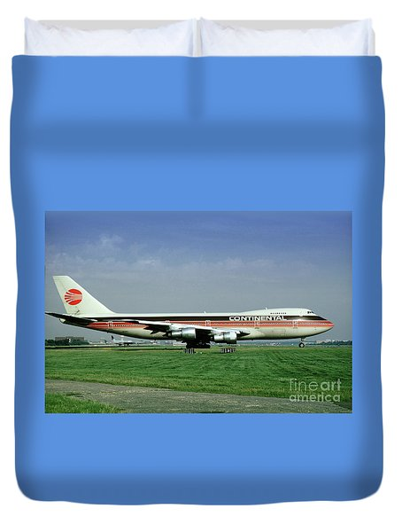 Continental Airlines Boeing 747-243b, N605pe, October 1988 Duvet Cover