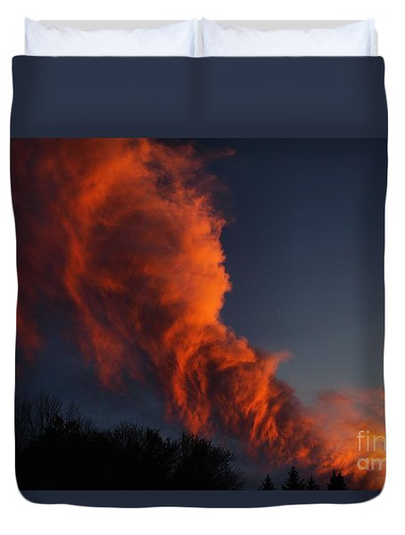 Duvet Cover featuring the photograph Contorted Clouds by Kenny Glotfelty