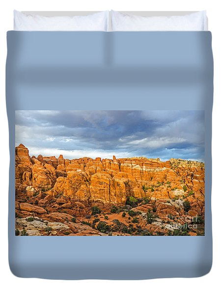 Contrasts In Arches National Park Duvet Cover by Sue Smith