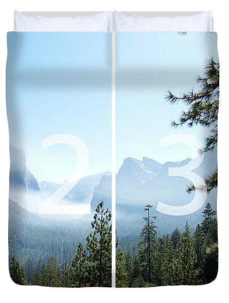 Controlled Burn Of Yosemite Panoramic Map Duvet Cover