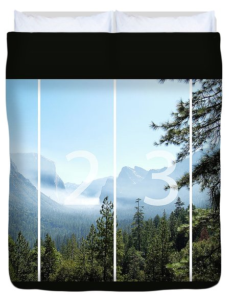 Controlled Burn Of Yosemite Panoramic Map Duvet Cover