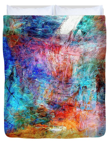 Duvet Cover featuring the painting Convergence by Dominic Piperata