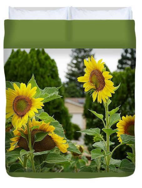 Conversing Sunflowers Duvet Cover