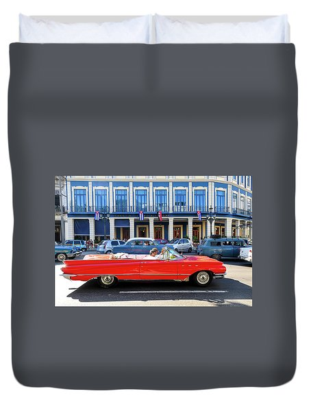 Convertible With Long Tailfins Duvet Cover