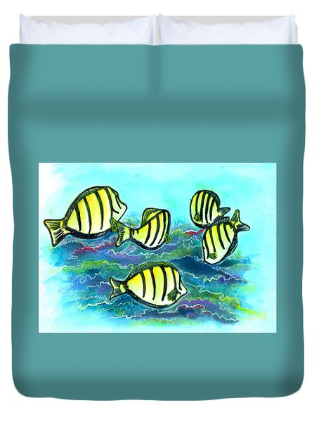Convict Tang Fish #209 Duvet Cover by Donald k Hall