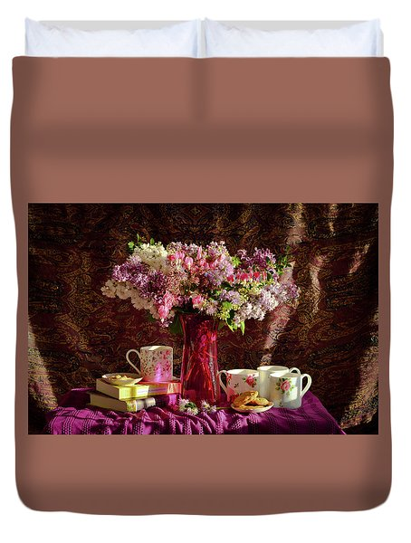 Cookies, Coffee And Comfort Duvet Cover by Wendy Blomseth