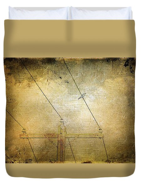 Cool Bird On A Hot Wire Duvet Cover by Jan Amiss Photography