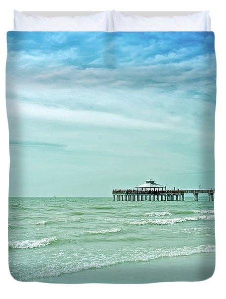 Cool Blue Fort Myers Pier Duvet Cover