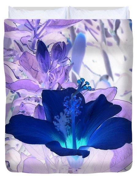 Cool Blue Hawaiian Hibiscus Duvet Cover