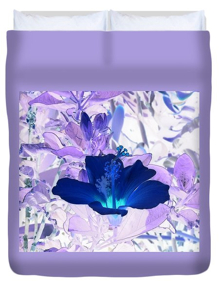 Cool Blue Hawaiian Hibiscus Duvet Cover