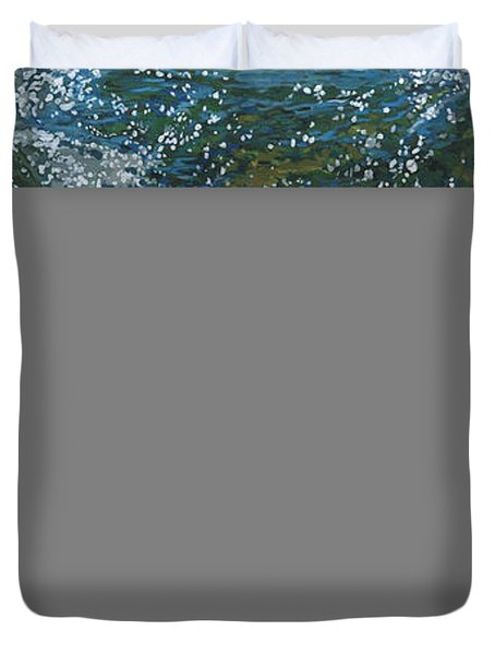 Duvet Cover featuring the painting Cool Blue by Nadi Spencer