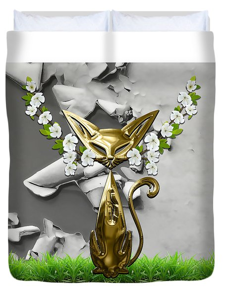 Cool Cat Art Collection Duvet Cover by Marvin Blaine