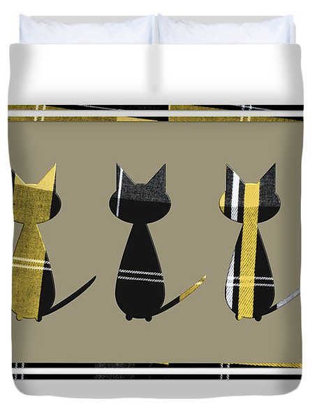 Cool Cats In Tartan Duvet Cover