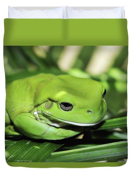 Cool Green Frog 001 Duvet Cover