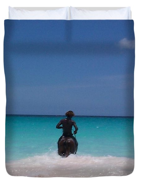 Duvet Cover featuring the photograph Cool Off Man by Mary-Lee Sanders