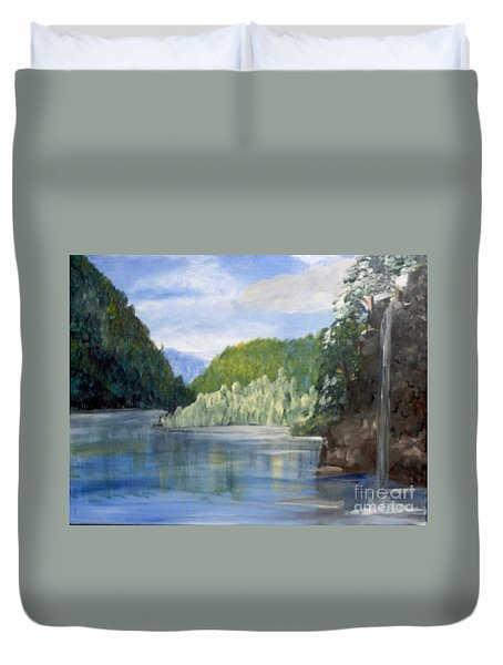 Duvet Cover featuring the painting Cool Water by Saundra Johnson
