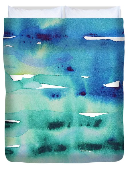 Duvet Cover featuring the painting Cool Watercolor by Jocelyn Friis
