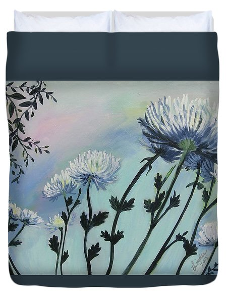 Cool White Spider Mums Duvet Cover