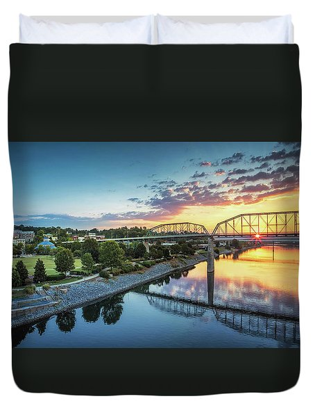 Coolidge Park Sunrise Panoramic Duvet Cover